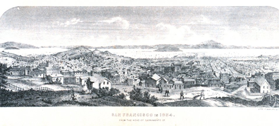 San Francisco 1854.  From the head of Sacramento Street. In: 'The Annals of San Francisco'.  Frank Soule, John Gihon, and James Nesbit.  1855.  Page 510.  D. Appleton & Company, New York.  F869.S3.S7 1855.