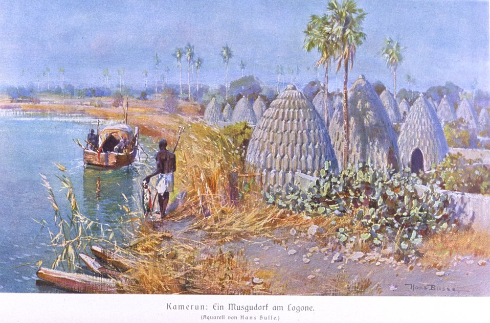 Cameroon German colony - a village on a lake. In: 'Das Deutsche Kolonialreich,' by Hans Meyer, 1909.  Vol I, p. 626. Library Call Number: Cfd M612 d