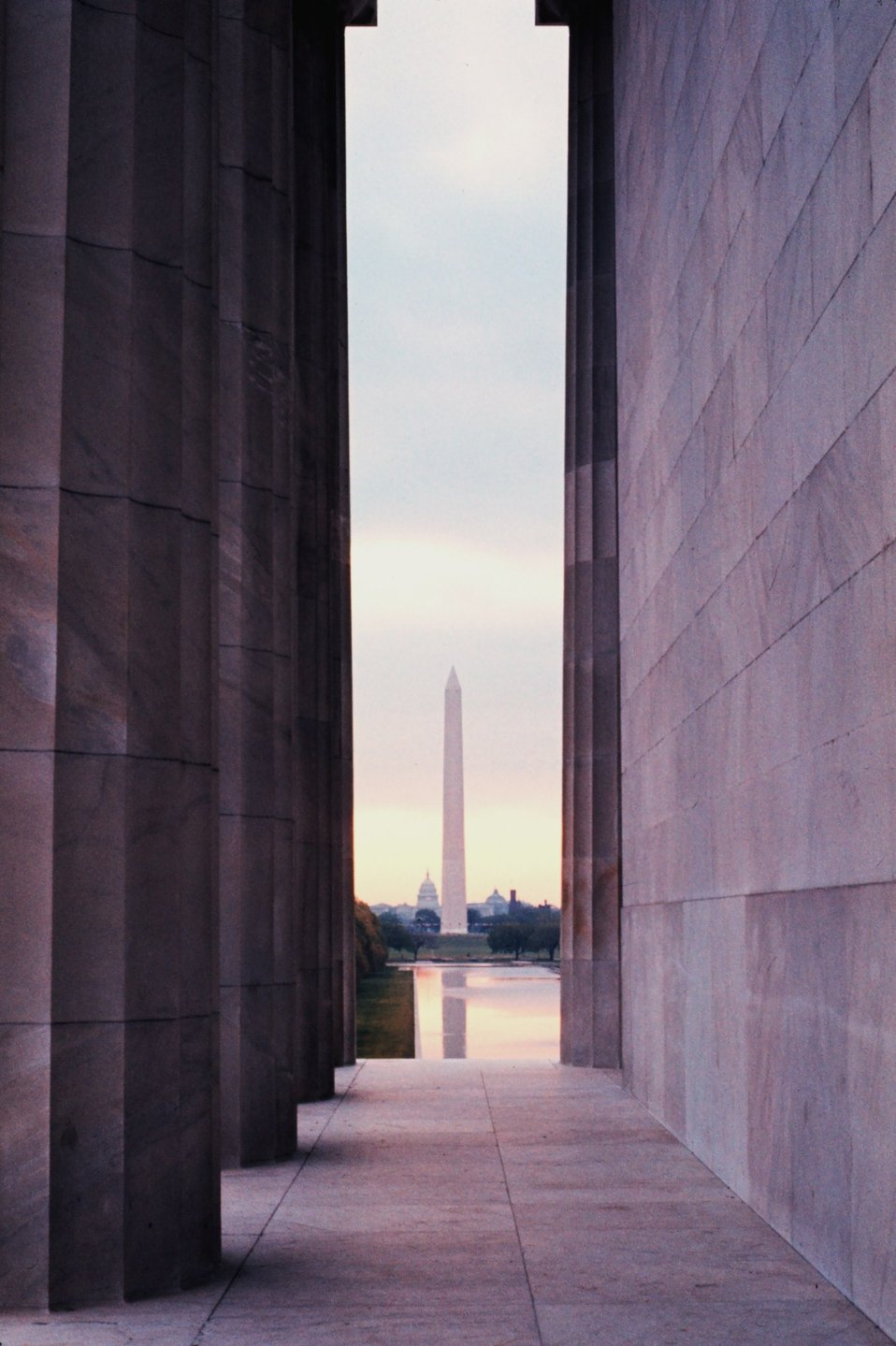 The Washington Monument reflected in the Reflecting Pool as seen from the Lincoln Memorial