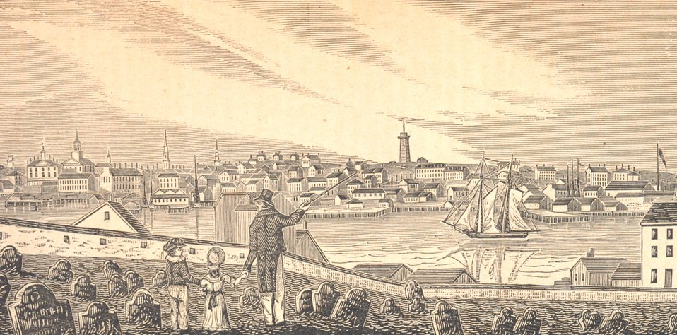 A view of Charlestown from the cemetery on Copp's Hill in Boston.  Bunker Hill Monument on Breed's Hill and Bunker Hill further to the north are seen in the central part of the image.  Buildings of the U.S. Navy Yard are seen on the extreme right. In: