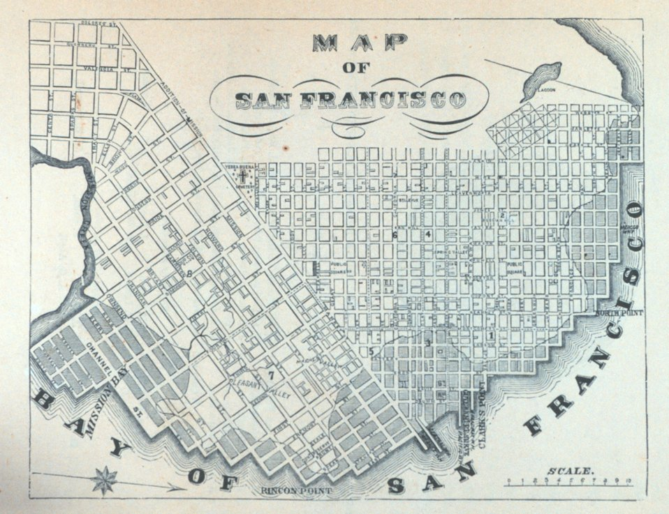 Map of San Francisco. In: 'The Annals of San Francisco'.  Frank Soule, John Gihon, and James Nesbit.  1855.  Frontispiece.  D. Appleton & Company, New York.  F869.S3.S7 1855.