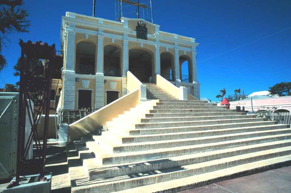 The Government House at Christiansted, under repair from hurricane damage.