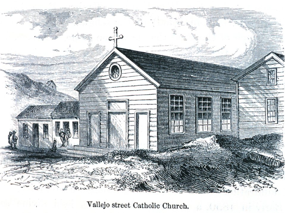 The Vallejo Street Catholic Church. In: 'The Annals of San Francisco'.  Frank Soule, John Gihon, and James Nesbit.  1855.  Page 696.  D. Appleton & Company, New York.  F869.S3.S7 1855.
