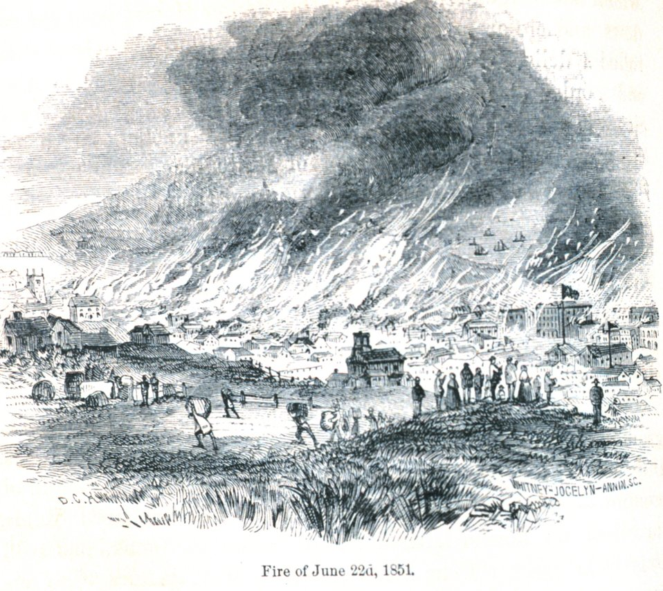 The San Francisco fire of June 22nd, 1851. In: 'The Annals of San Francisco'.  Frank Soule, John Gihon, and James Nesbit.  1855.  Page 598.  D. Appleton & Company, New York.  F869.S3.S7 1855.