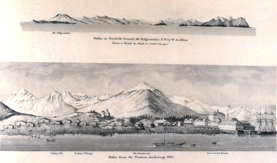 Sitka or Norfolk Sound, Mt. Edgecumbe.  Sitka from the western anchorage 1867. In: Pacific Coast Pilot Alaska Part I 1883.  P.136.  Library call number VK943 .N3 1883.