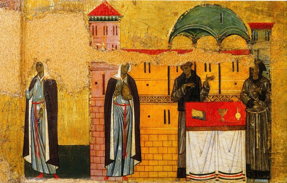 6 Giunta Pisano. St. Francisc and six stories from his life. Detail. Ca. 1250-60. Museo San Matteo, Pisa.jpg