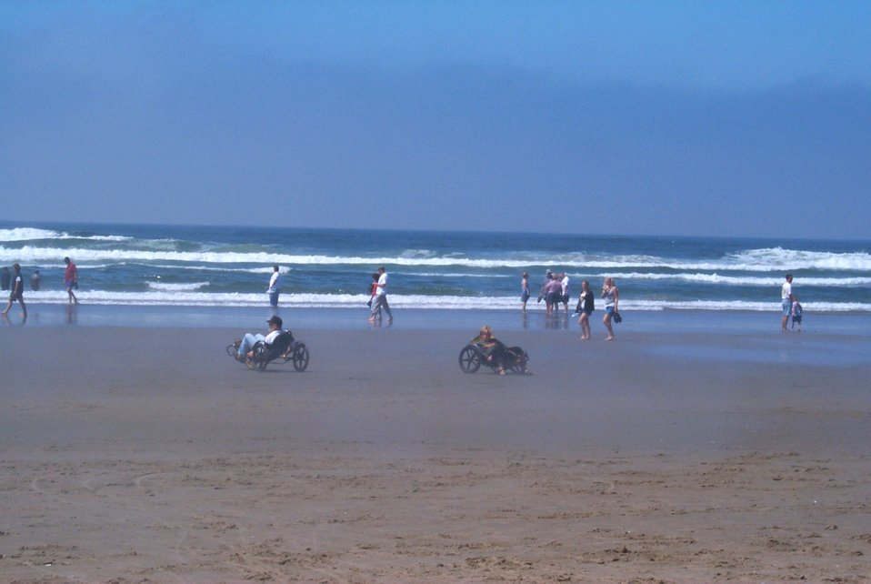 Riding rented trikes on the beach at Cannon Beach.