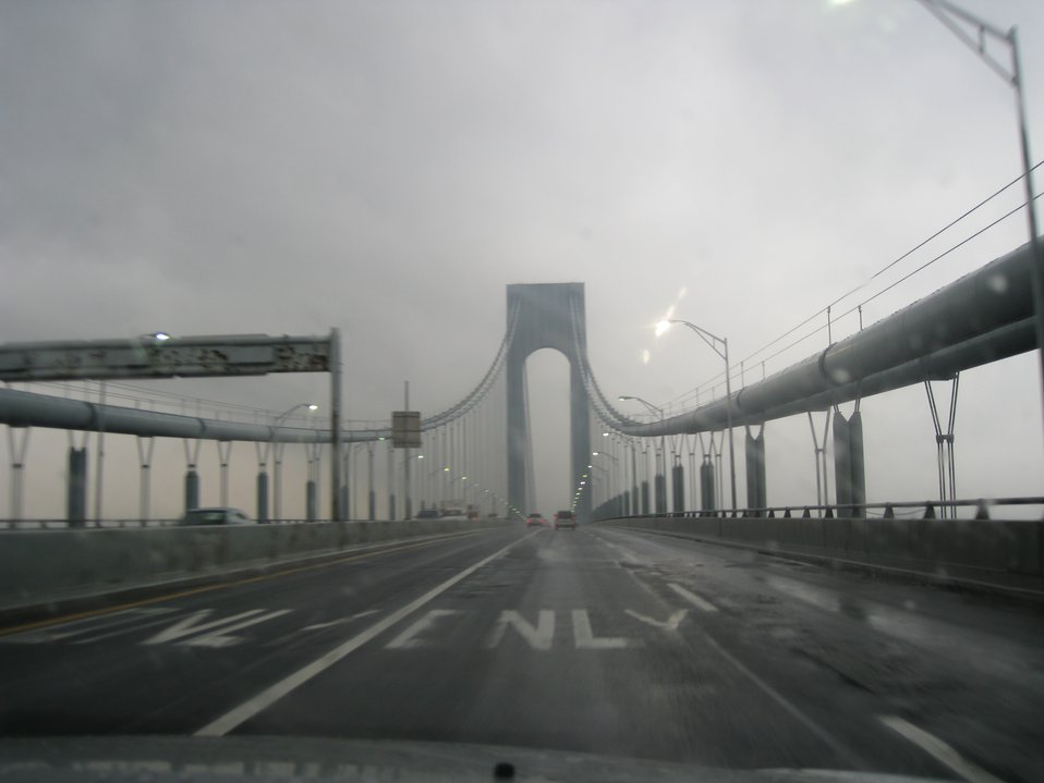 Crossing over Verrazano Narrows Bridge from Staten Island to Long Island.