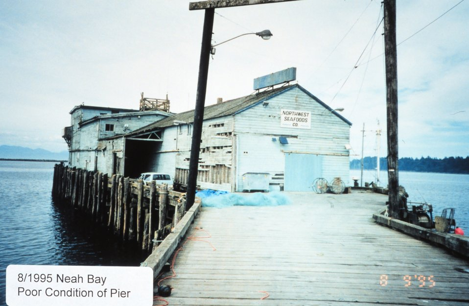 Rustic appearing Northwest Seafoods Company Pier.