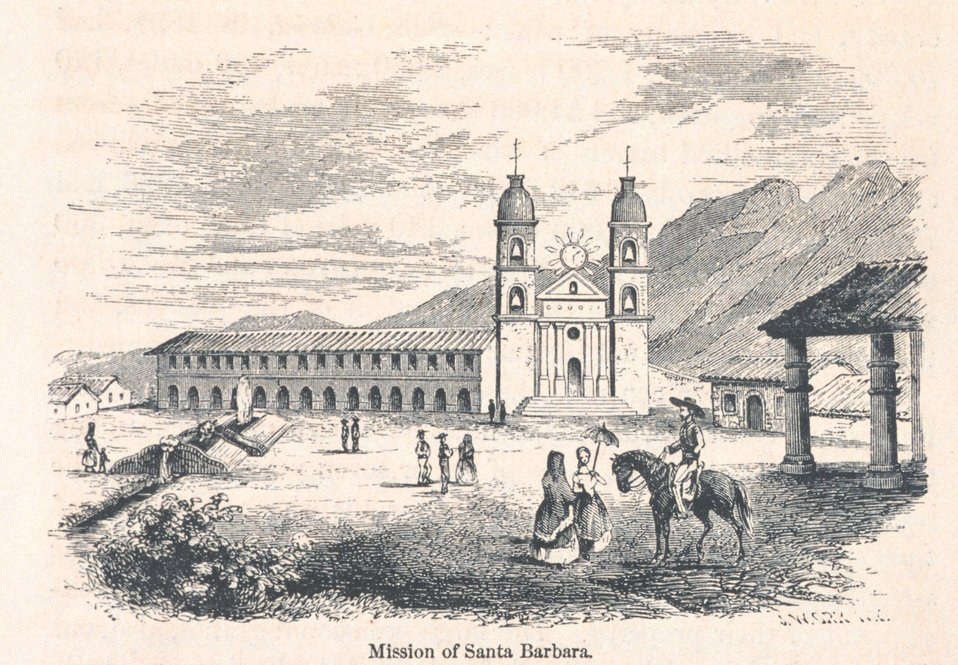 View of the Mission at Santa Barbara. In: 'The Annals of San Francisco'.  Frank Soule, John Gihon, and James Nesbit.  1855.  Page 65.  D. Appleton & Company, New York.  F869.S3.S7 1855.