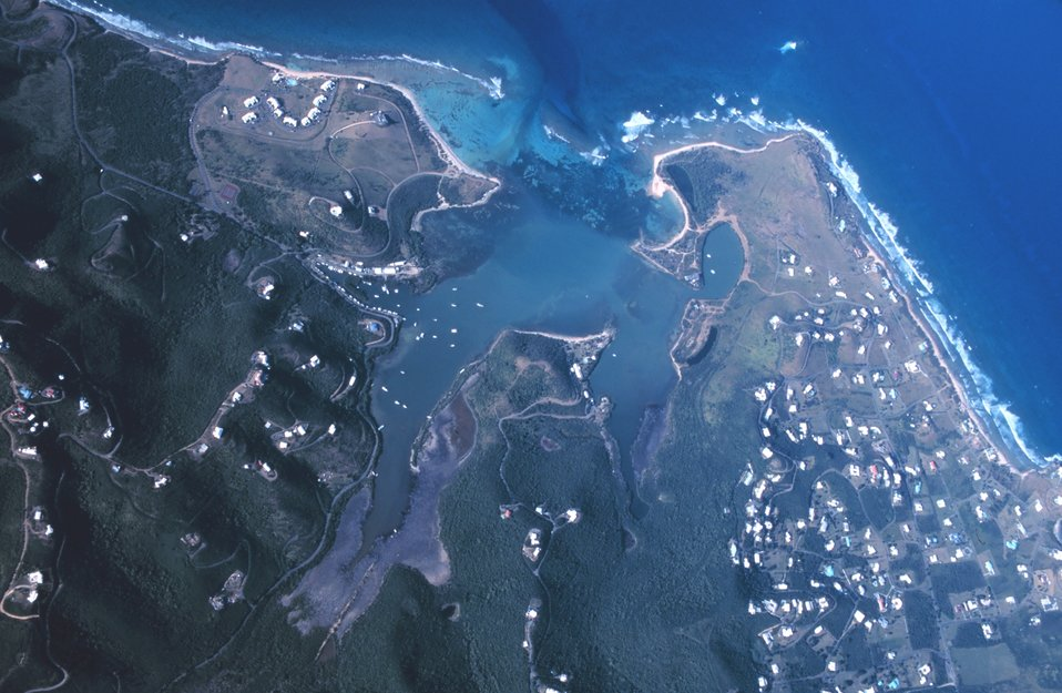 Aerial view of Salt River Bay