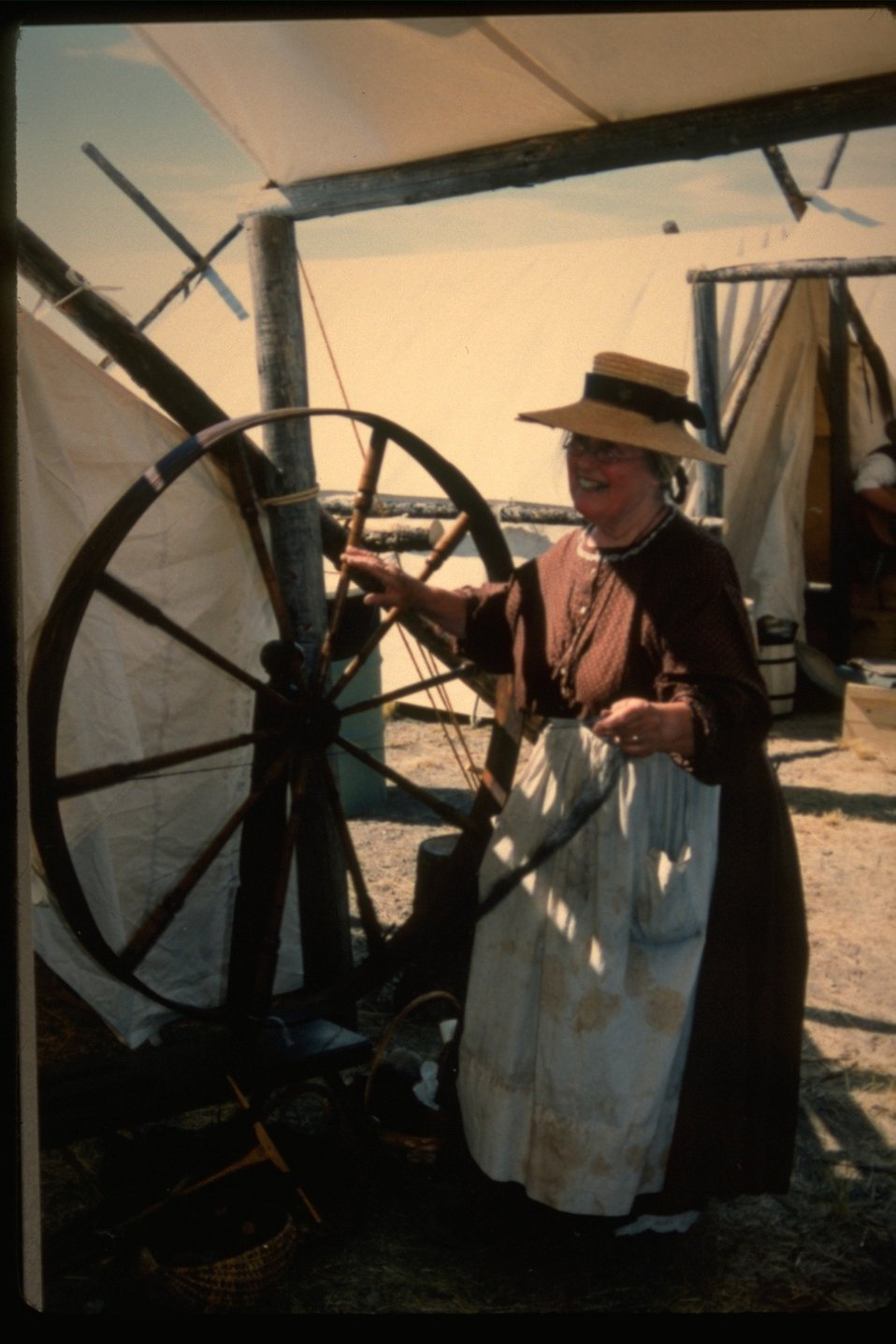 A display of spinning at the Pioneer Festival at the NHOTIC.