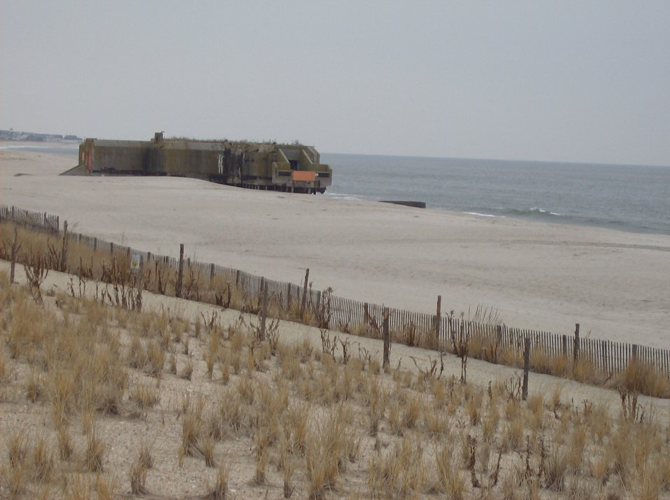 World War II Coast Artillery bunker exposed by retreating dune line at Cape May.