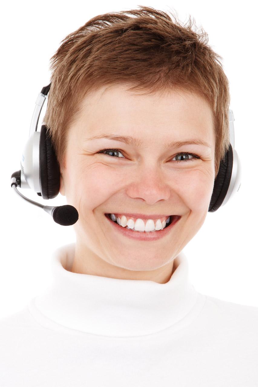 Smiling phone operator