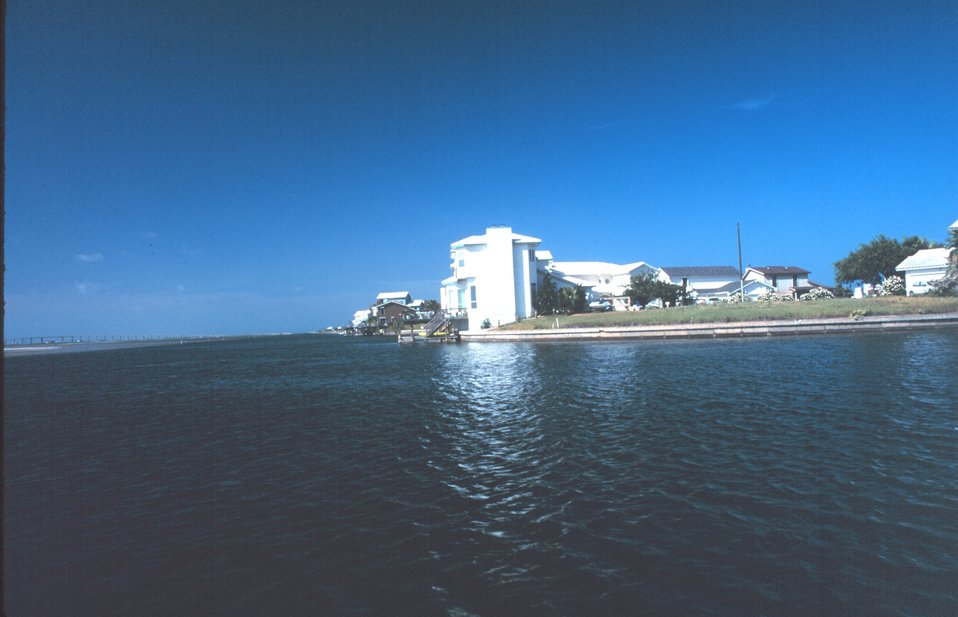 A resort area on the west side of Padre Island