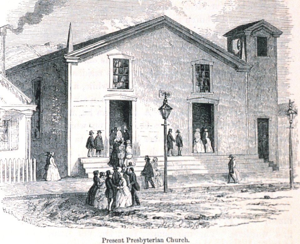 The present Presbyterian Church (as of 1854.) In: 'The Annals of San Francisco'.  Frank Soule, John Gihon, and James Nesbit.  1855.  Page 693.  D. Appleton & Company, New York.  F869.S3.S7 1855.