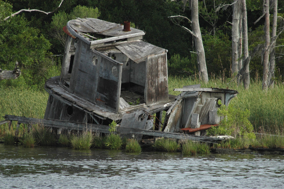 A derelict along the Cape Fear River.