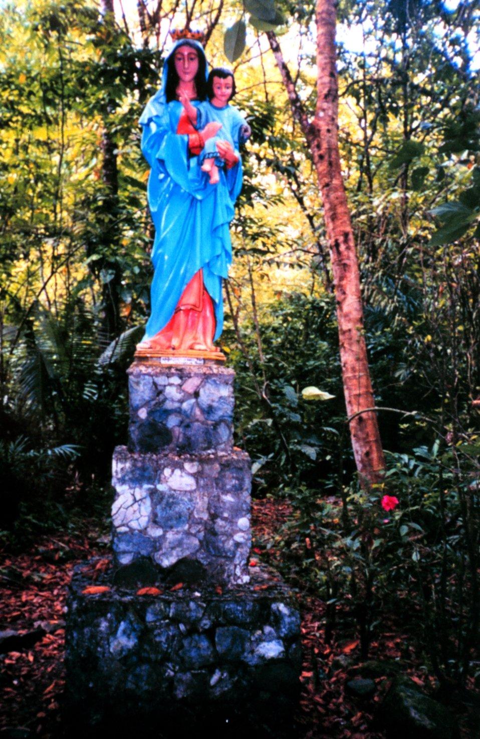 A statue of the Virgin Mary on Isla Gorgona.