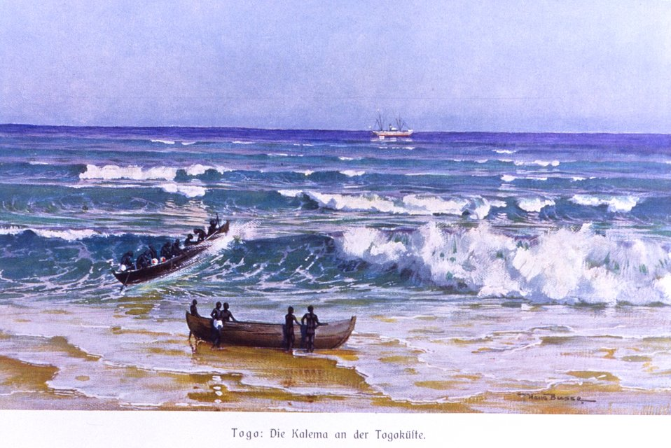Offloading a cargo vessel through the surf at Togo, German colonial Africa. In: 'Das Deutsche Kolonialreich,' by Hans Meyer, 1909.  Vol II, p. 22. Library Call Number: Cfd M612 d