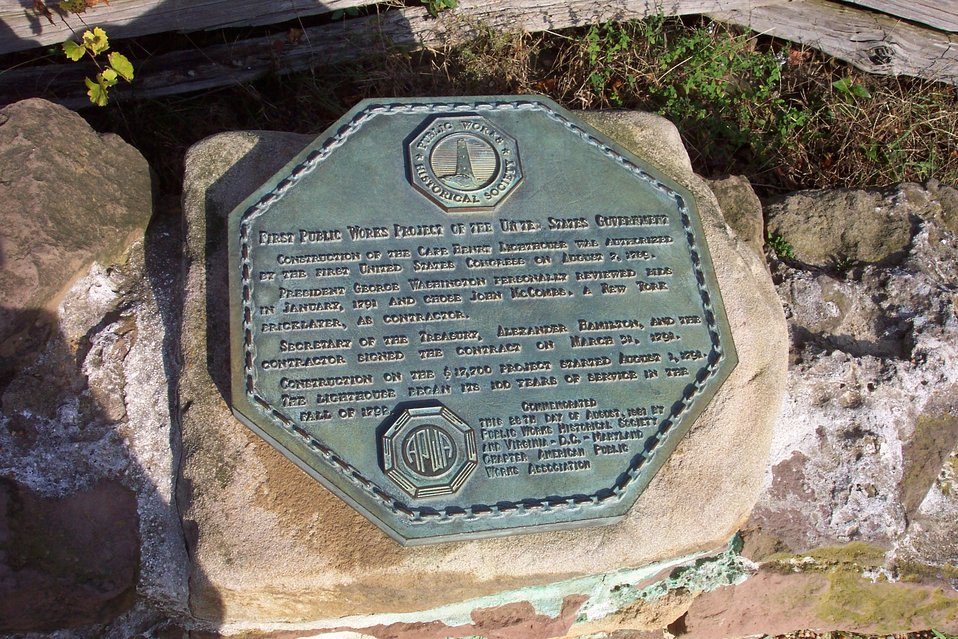 Plaque commemorating Old Cape Henry Lighthouse, the first public works  project undertaken by the United States Government in 1791 and was completed in 1792.