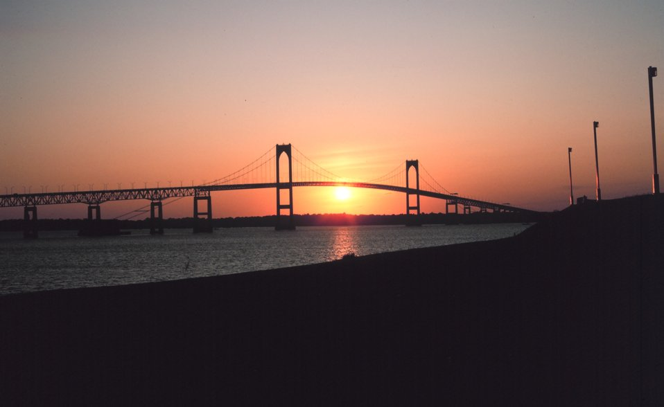 The Newport Bridge at sunset