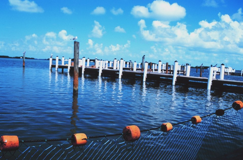 A pier at Islamorada Fish Co. restaurant and market