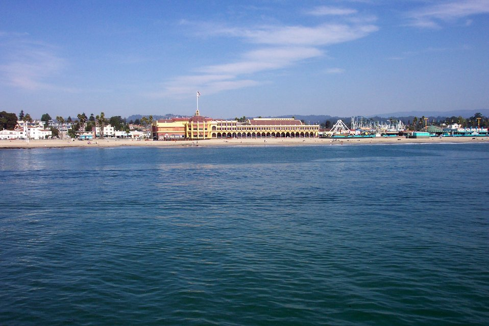 Coconut Grove and the Santa Cruz Boardwalk as seen from the Santa Cruz wharf.