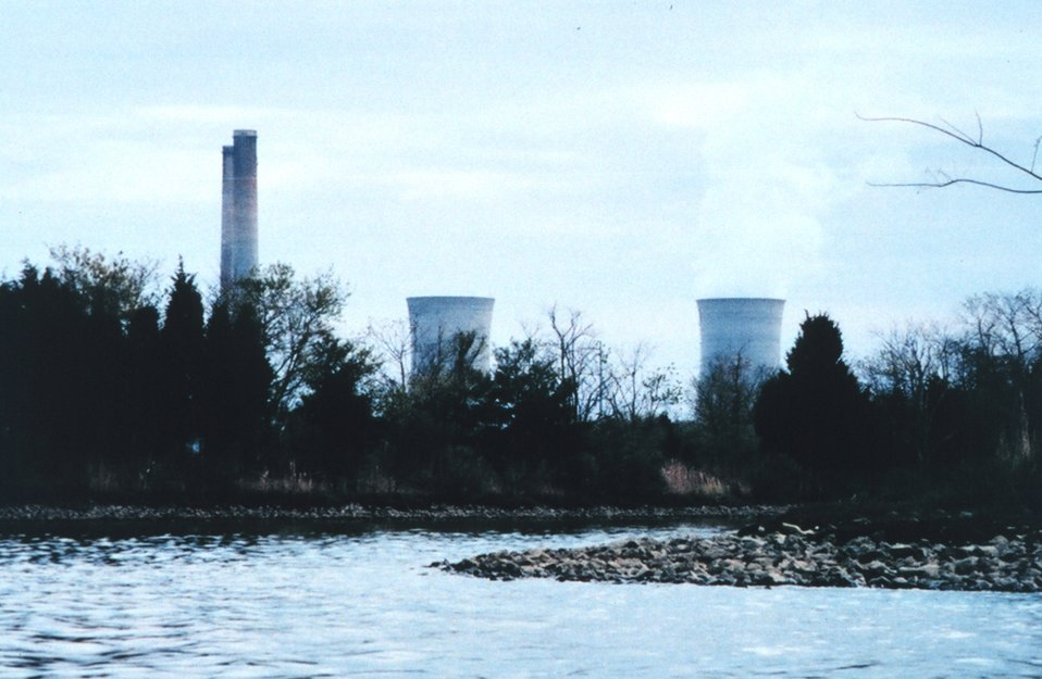 Pepco's Chalk Point Generating Plant on the Patuxent River.  A pipeline carrying oil to this plant burst and spilled 100,000 gallons of oil into Swanson Creek on April 7, 2000.