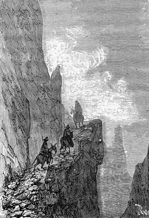 An ilustration from the novel 'In Search of the Castaways; or Captain Grant's Children' by Jules Verne drawn by Édouard Riou. Polski:  Ilustracja powieści Juliusza Verne'a 'Dzieci kapitana Granta' autorstwa Édouarda Riou. Français:  'Les Enfa