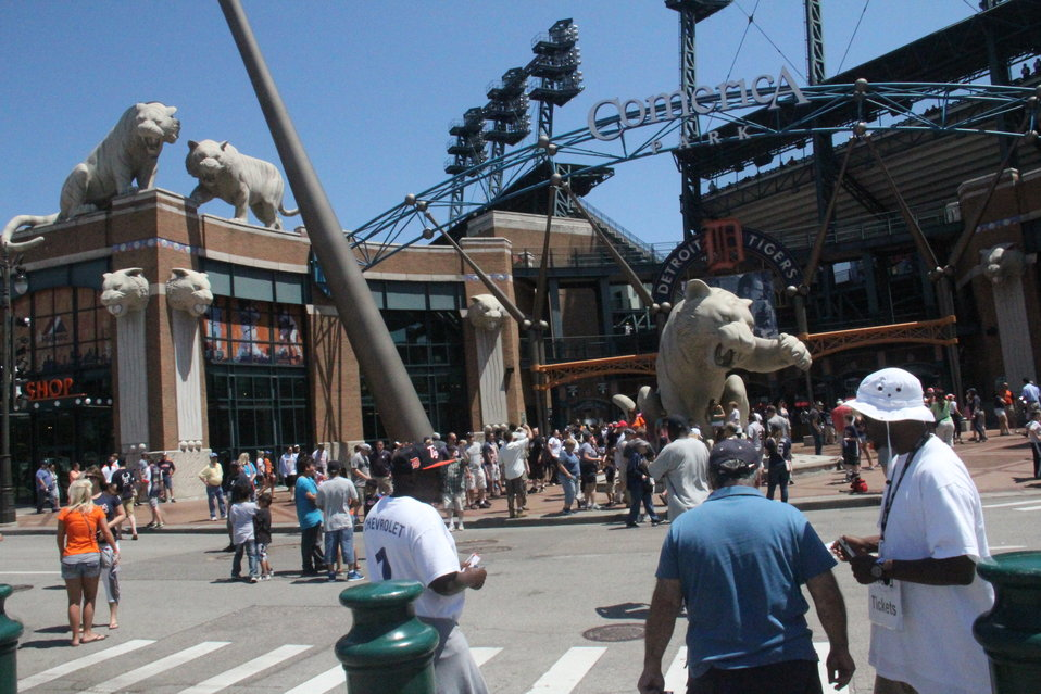 Tiger Statues at Detroit Tiger's Stadium