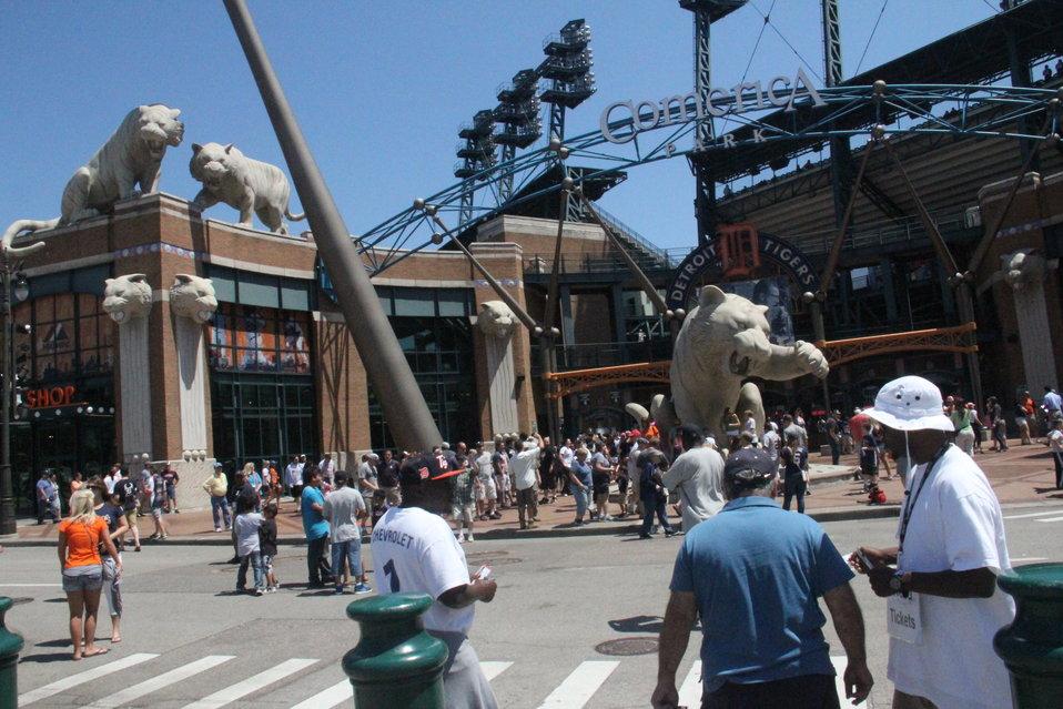 Tiger Statues at Detroit Tiger's Stadium