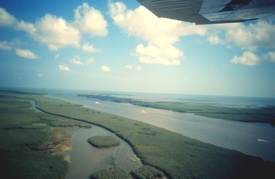 Flying over a stretch of the Intra-coastal Waterway.