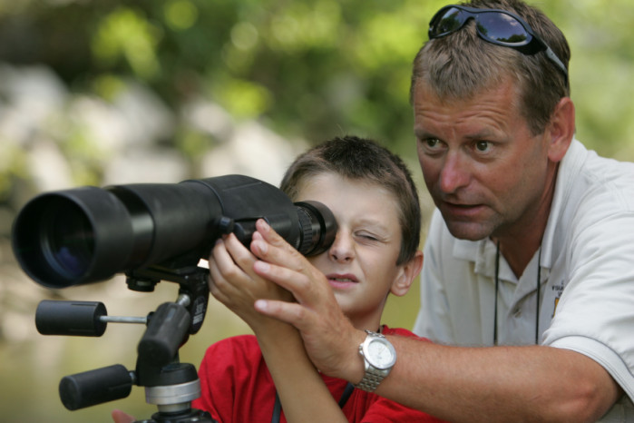at the spotting scope