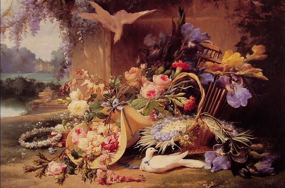 Bidau, Eugene - Elegant Still Life with Flowers - 19th c.jpg