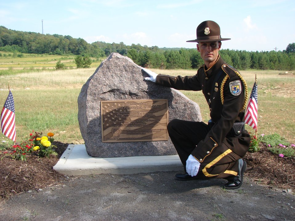 Officer Shelby Finney at memorial to Flight 93