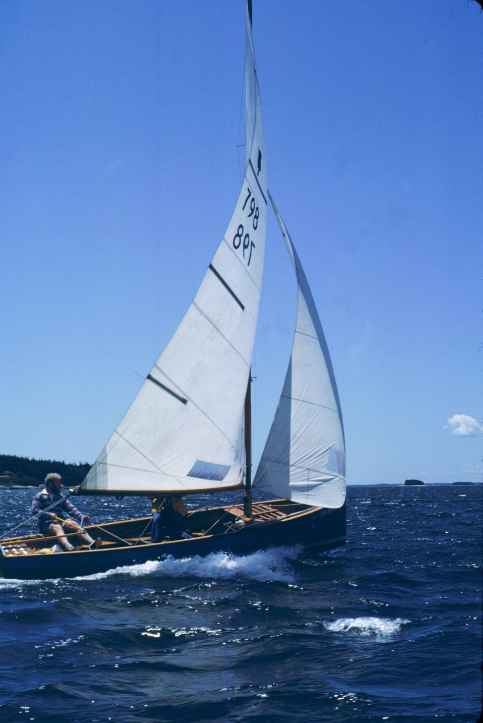 Sailing in Penobscot Bay in Thistle class sailboat.