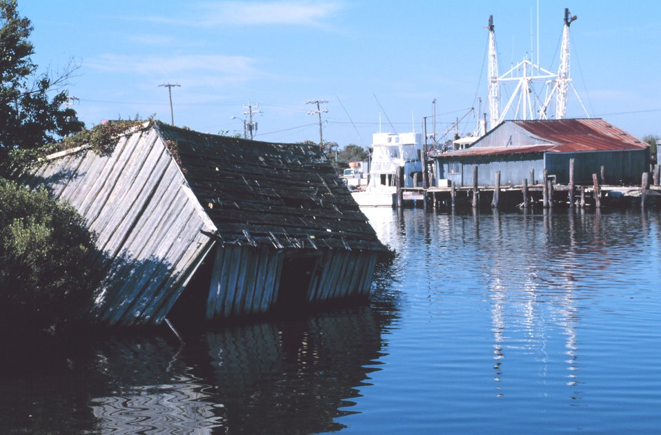 A dilapidated fishing shack
