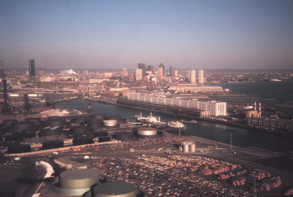 A view over the tanker piers of downtown Boston