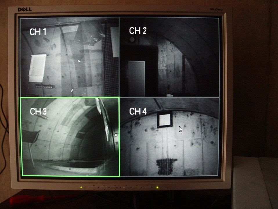 Live feed monitor of bunker interior