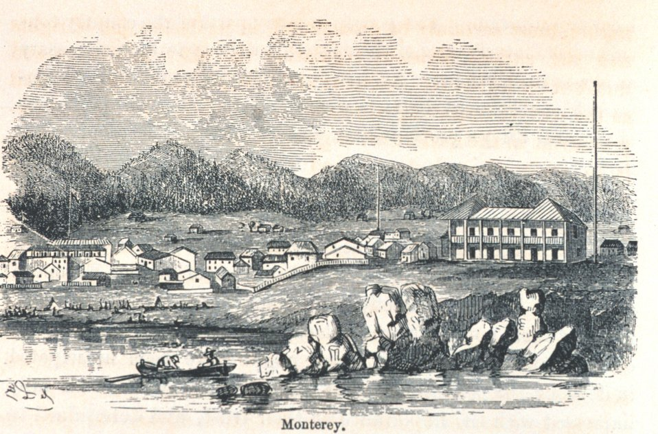 View of Monterey from offshore.  The large building to the right, the Custom House, is still standing. In: 'The Annals of San Francisco'.  Frank Soule, John Gihon, and James Nesbit.  1855.  Page 138.  D. Appleton & Company, New York.  F869.S3.S7 1855.