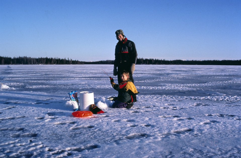 Ice fishing, Kenai NWR