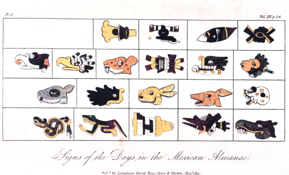 'Signs of the Days in the Mexican Almanac' in:  'Researches Concerning the Institutions and Monuments of the Ancient Inhabitants of America,' by Alexander von Humboldt and translated by Helen Maria Williams, 1814. Vol. II, p. 34. Library Call Number