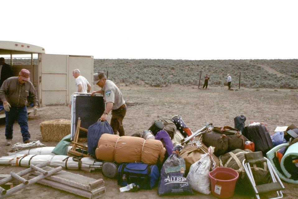 NHOTIC 10th Anniversary, wagon train reenactment. Breaking camp on the Oregon Trail.