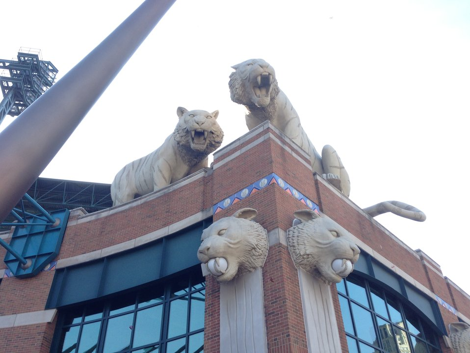 Statues at the Detroit Tiger's Stadium