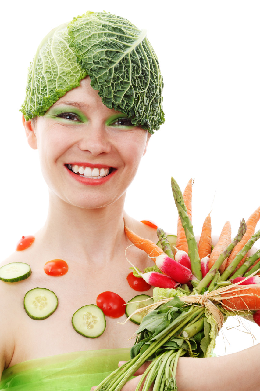 Woman wearing vegetable