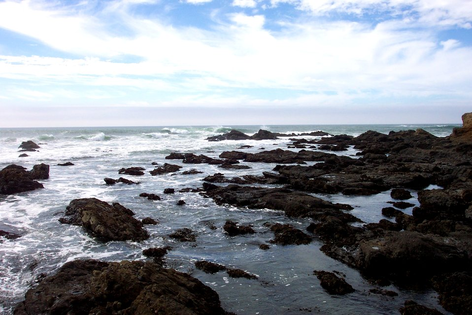 Rocky shore, tide pools and surf north of Pigeon Point.