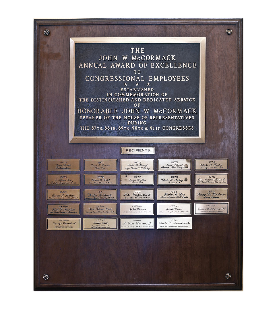 McCormack Annual Award Plaque