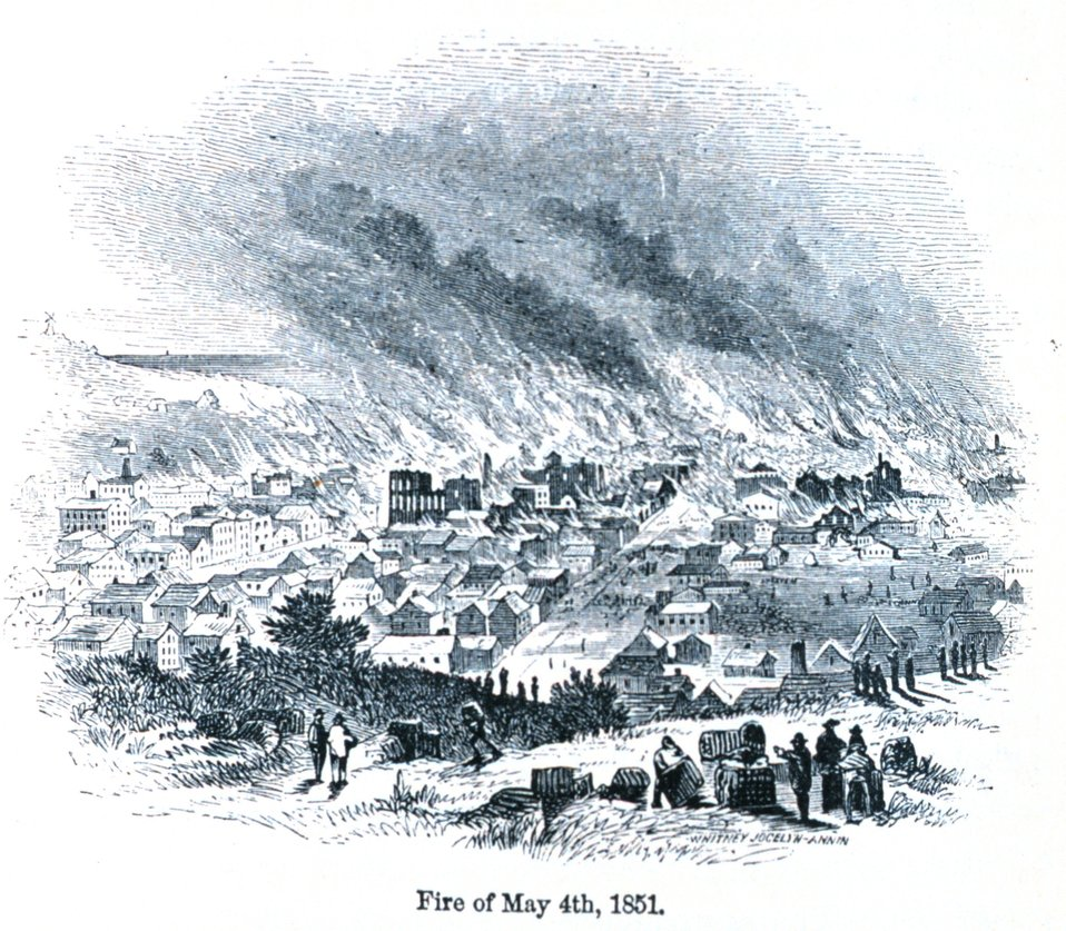 The San Francisco fire of May 4th, 1850. In: 'The Annals of San Francisco'.  Frank Soule, John Gihon, and James Nesbit.  1855.  Page 330.  D. Appleton & Company, New York.  F869.S3.S7 1855.