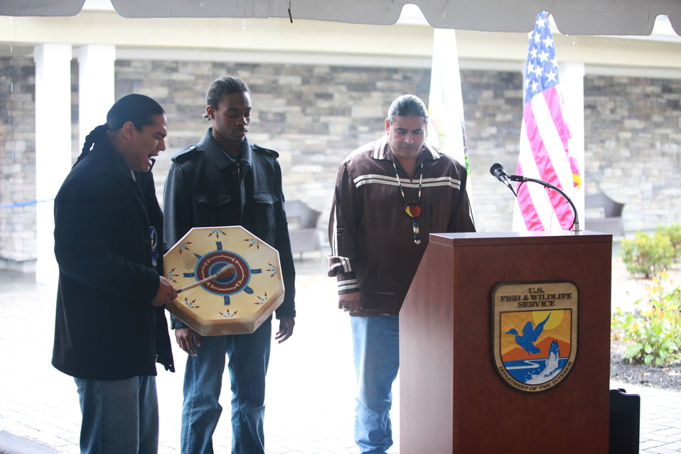 Traditional Tribal Blessing by reps. from Unkechaug & Shinnecock Indian Nations
