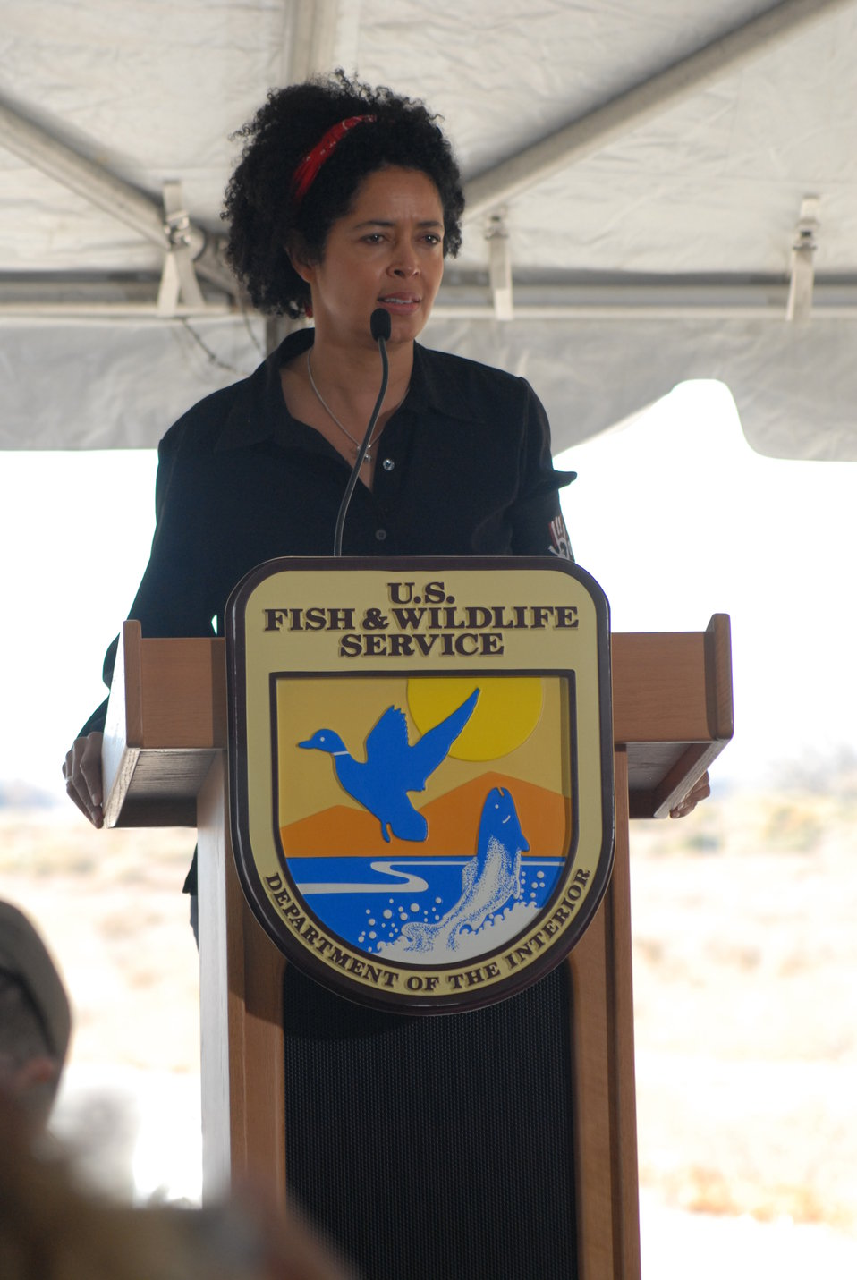 Dr. Paula Kahumbu, wildlife conservationist and CEO of WildlifeDirect, speaks at the U.S. Ivory Crush.